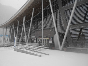 Sochi arena covered in snow