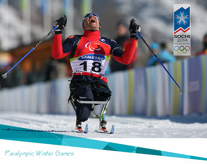Sochi Paralympics Winter Games 2014 Celebrating Skier