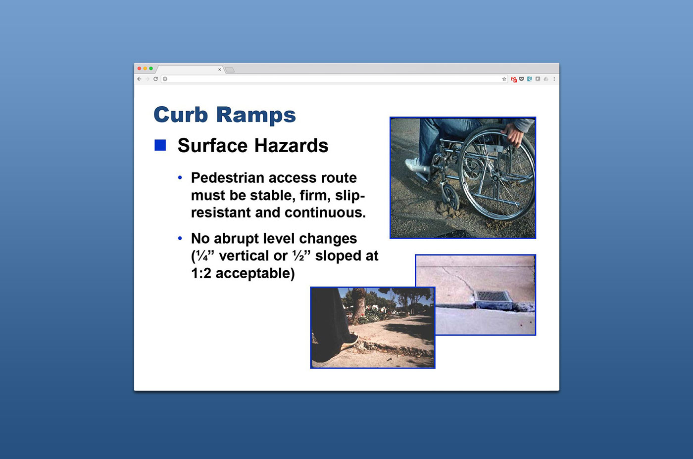 Webinars - Curb Ramps slide